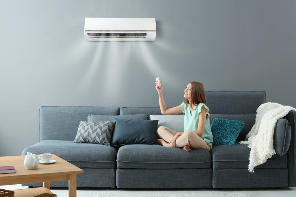 Woman sitting in air conditioned comfort